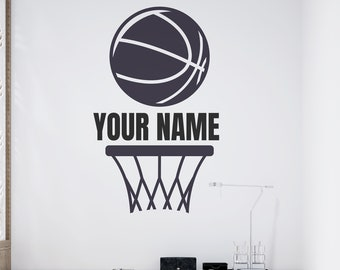 Basketball Net and Basketball with Name - Personalized Basketball Vinyl Wall Decal - Made to Order - Free Shipping