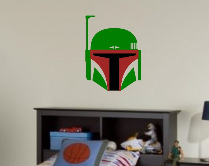 Bounty Hunter Helmet - Vinyl Wall or Vehicle Decal - Personalize for Free - Free Shipping - Multiple Sizes