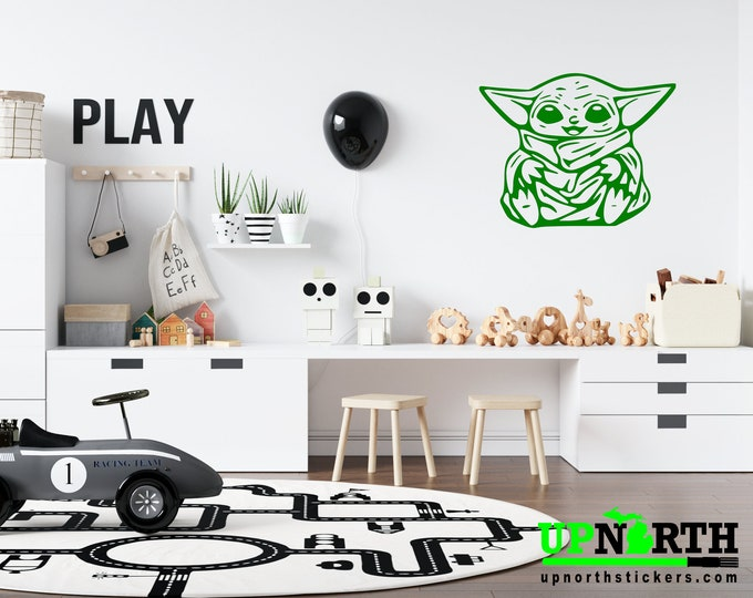 Baby Yoda  -  Vinyl Wall or Vehicle Decal - FREE PERSONALIZATION