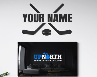 Hockey Sticks - Personalized Hockey Vinyl Wall Decal - Multiple Sizes and Colors - Personalize for Free - Sports  Custom Wall Decal