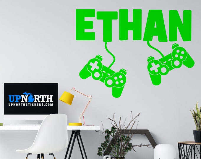 Custom Name with Hanging Controllers - Personalized Vinyl Wall or Vehicle Decal - Made to Order - Free Shipping