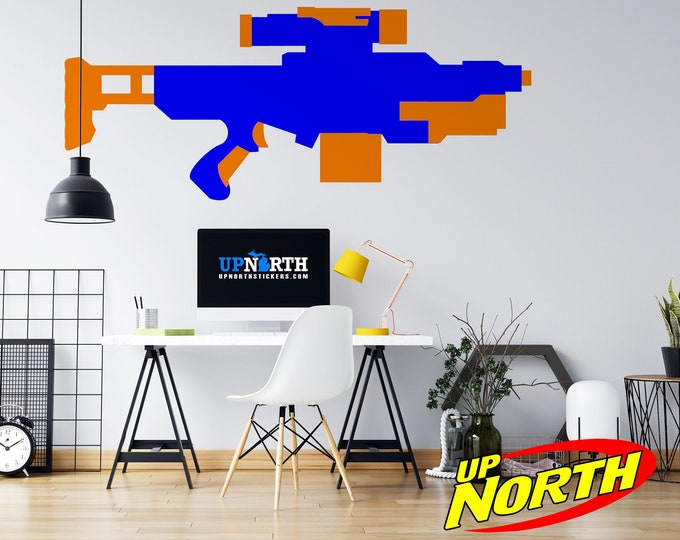 Foam Dart Gun / AR Rifle - Vinyl Wall Decal - Multiple Sizes and Colors - Personalize for Free - Free Shipping