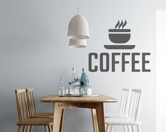 Coffee Cup - Kitchen  Vinyl Wall Decal - Multiple Sizes and Colors - Free Customization