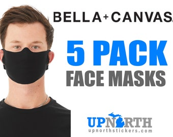 5 Pack Face Masks - Bella+Canvas Cotton Fabric Face Mask - Bella + Canvas Lightweight Fabric Face Mask - Black Fabric Face Mask