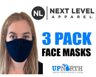 3 Pack - Next Level Face Mask - 2 Ply Fabric Face Mask