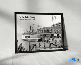 Photo Print - Belle Isle Ferry - 1909 Downtown Detroit - Vintage and Historical Detroit Michigan - FREE SHIPPING