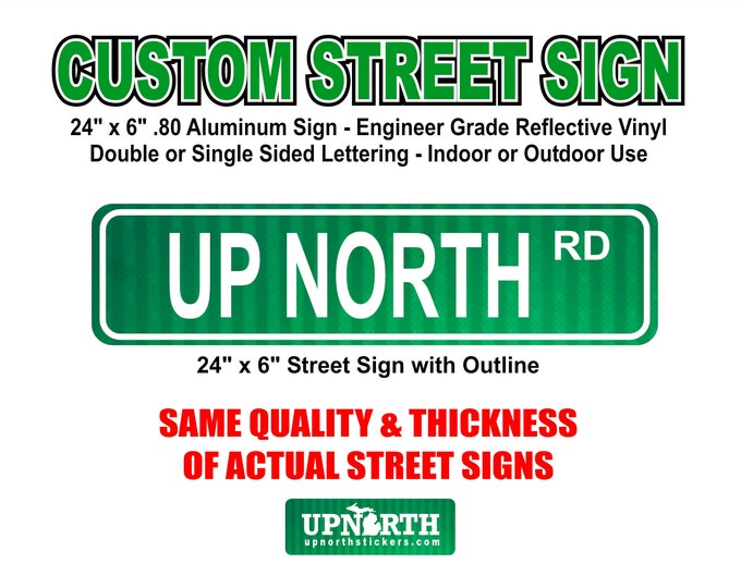 24 in x 6 in Custom Street Sign - .80 Aluminum with Engineer Grade Reflective Vinyl - Single or Double Sided