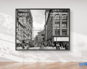 Photo Print - Gratiot Avenue 1908 - Downtown Detroit - Vintage and Historical Detroit Michigan - FREE SHIPPING