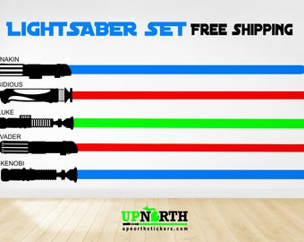5 Lightsaber Set - Custom Vinyl wall or vehicle decal - Separate decals so you can arrange how you want - Free Shipping
