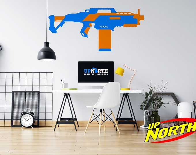 Foam Dart Gun / SMG - Vinyl Wall Decal - Multiple Sizes and Colors - Personalize for Free - Free Shipping - Made to Order