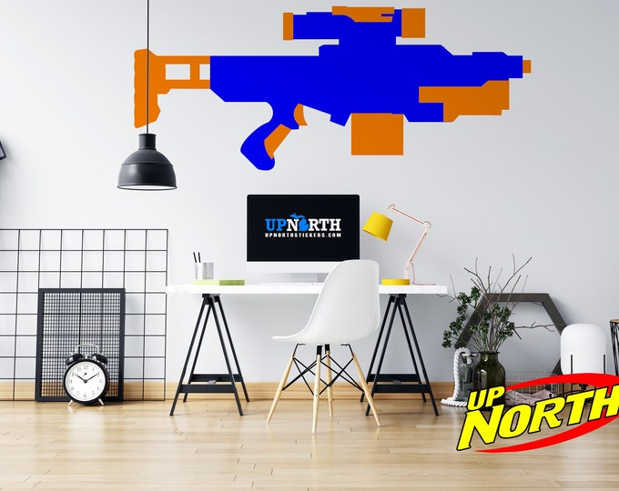 Foam Dart Gun / AR Rifle - Custom Vinyl Wall Decal - Multiple Sizes and Colors - Personalize for Free - Free Shipping