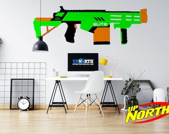 Foam Dart Gun / Rifle Vinyl Wall Decal - Multiple Sizes and Colors - Personalize for Free - Free Shipping