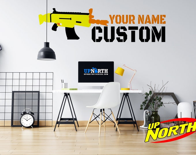 Custom Name with Foam Dart Rifle / Gun - 3 Color Wall Decal - Personalize for Free - Free Shipping - Multiple Colors and Sizes