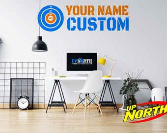Custom Name with Foam Dart Gun Target - Custom Vinyl Wall Decal - Multiple Sizes and Colors - Personalize for Free - Free Shipping