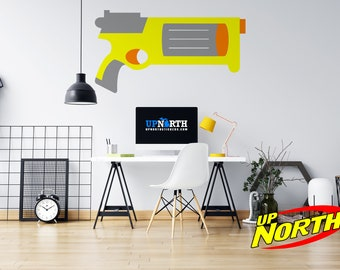 Revolver - Foam Dart Gun - Personalized Vinyl Wall Decal - Free Shipping