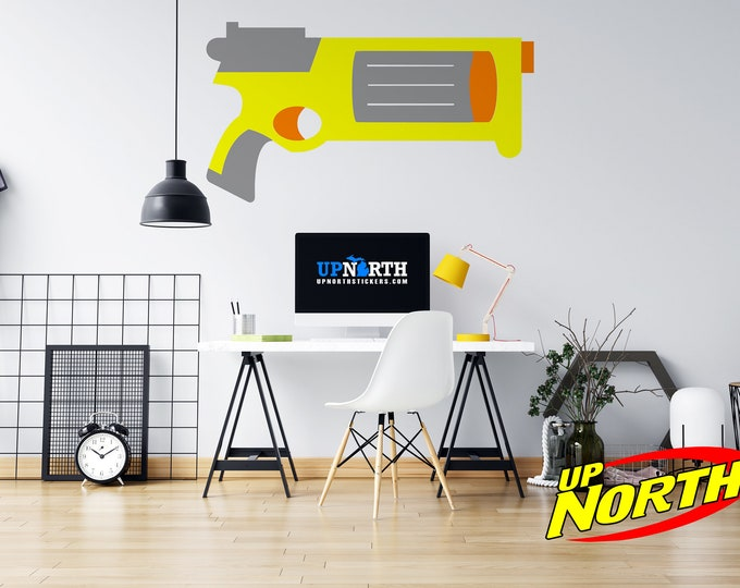 Foam Dart Gun / Revolver - Custom Vinyl Wall Decal - Multiple Sizes and Colors - Free Shipping - Personalize for Free