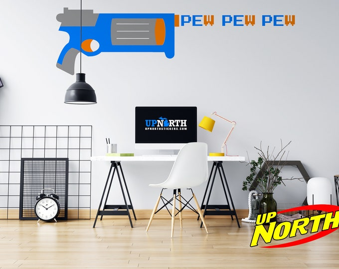 Foam Dart Gun / Revolver with Pew Pew Pew - Vinyl Wall Decal - Multiple Sizes and Colors - Free Shipping
