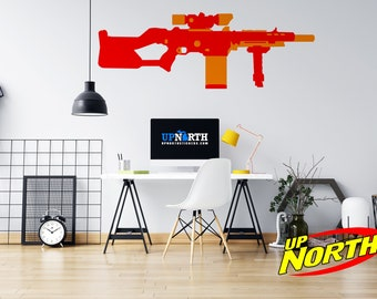 Foam Dart Gun / Sniper Rifle - Vinyl Wall Decal - Multiple Sizes and Colors - Personalize for Free - Free Shipping