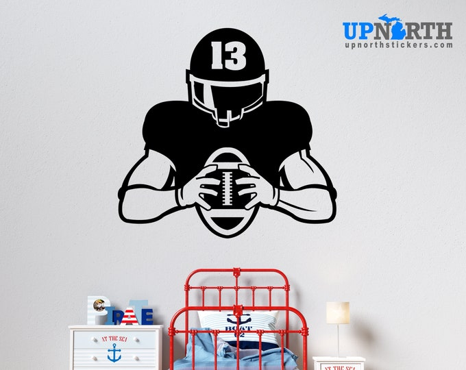 Football Player with Number  - Personalized Football Vinyl Wall Decal - Free Shipping