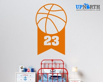 Basketball  Banner with Number - Personalized Vinyl Wall Decal - Multiple Sizes and Colors - Personalize for Free - Free Shipping