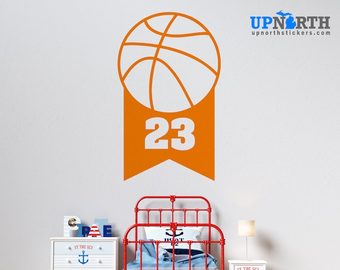 Basketball  Banner with Number - Personalized Vinyl Wall Decal - Free Shipping