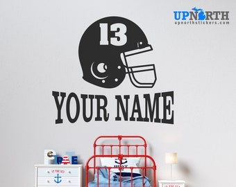 Football Helmet with Name and Number  - Personalized Vinyl Wall Decal - Multiple Sizes and Colors - Personalize for Free - Free Shipping