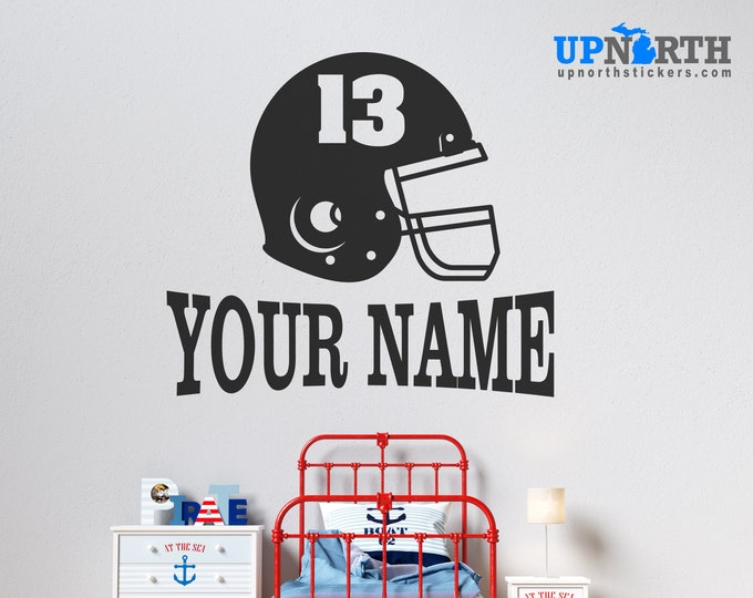 Football Helmet with Name and Number  - Personalized Vinyl Wall Decal - Free Shipping