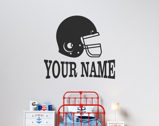Football Helmet with Name  - Personalized Football Vinyl Wall Decal - Free Shipping