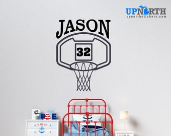 Basketball  Hoop with Name and Number - Personalized Vinyl Wall Decal - Multiple Sizes and Colors - Personalize for Free - Free Shipping