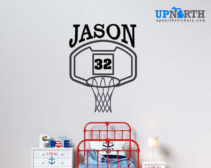 Basketball  Hoop with Name and Number - Personalized Vinyl Wall Decal - Free Shipping