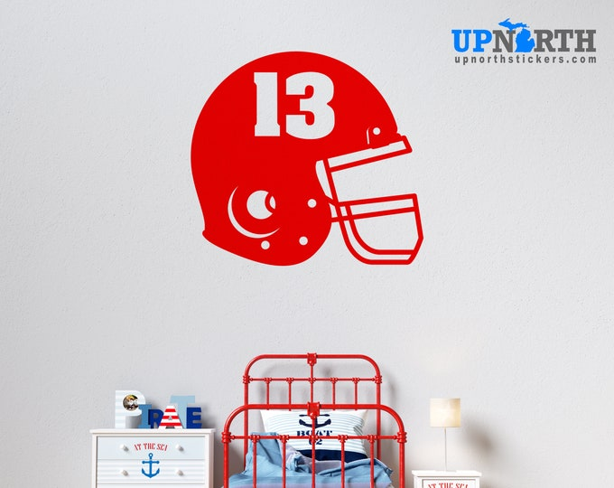 Football Helmet with Number  - Personalized Football Vinyl Wall Decal - Free Shipping