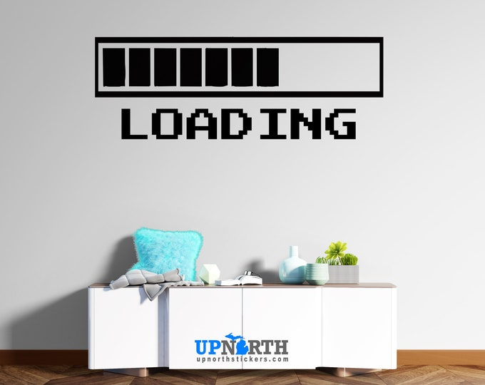 Gamer Decal - Loading Bars - Custom Vinyl Wall or Vehicle Decal - Free Shipping