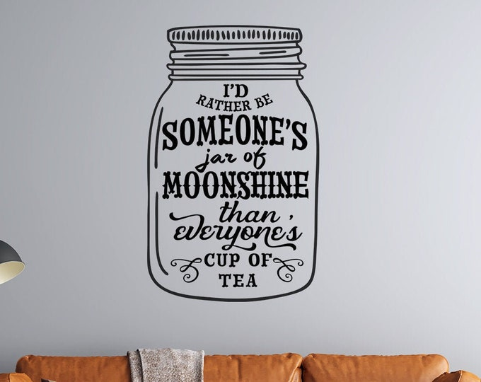 Mason Jar - Someone's Jar of Moonshine - Vinyl Wall Decal - Multiple Sizes and Colors - Personalize for Free