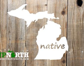Native Michigan Mitten - Vinyl Decal - Multiple Sizes