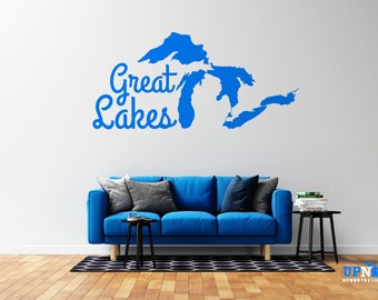 Great Lakes Vinyl Wall Decal - Multiple Sizes and Colors - Free Customization