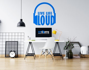 Headphones - Live Life Loud - Vinyl Wall Decal - Multiple Sizes and Colors - Free Customization