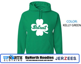 UpNorth Hoodies - Detroit Clover - Hooded Pullover Sweatshirt - TALL SIZES Available - Detroit Michigan