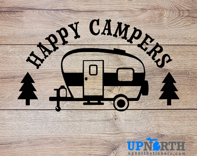 Happy Campers with Trailer - Custom Vinyl Wall or Vehicle Decal  - Free Shipping
