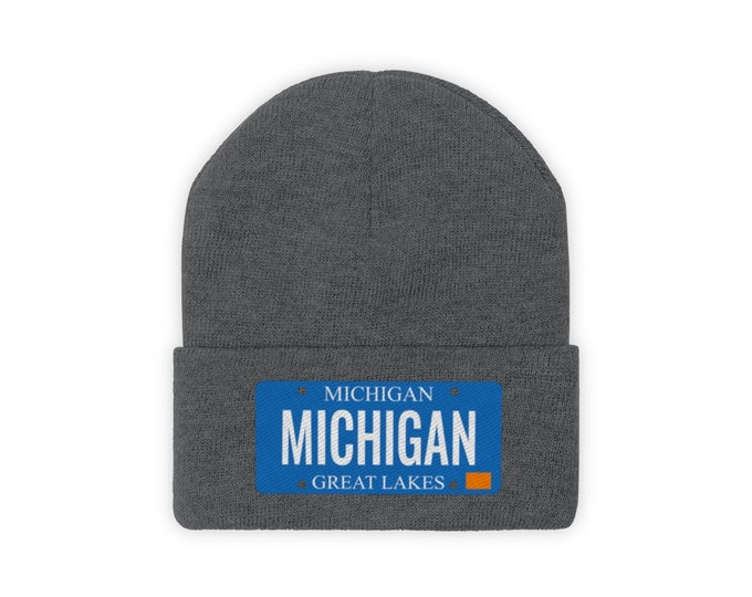 Embroidered Knit Hat - MICHIGAN (License Plate)