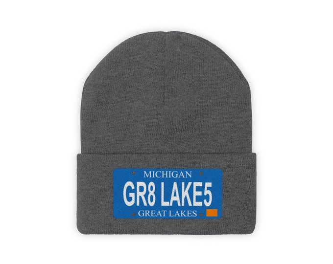 Embroidered Knit Hat - GR8 LAKES (License Plate)