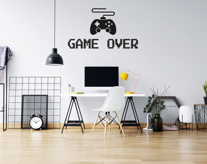 Game Over - Video Game Controller - Custom Vinyl Wall or Vehicle Decal - Multiple Sizes and Colors - Free Shipping