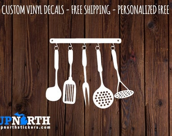 Kitchen Utensils  - Kitchen  Vinyl Wall Decal - Multiple Sizes and Colors -  Optional Free Customization
