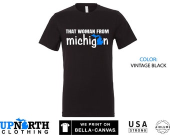 UpNorth Tee - That Woman from Michigan - Blue and White - Michigan Unisex T-Shirt - Free Shipping
