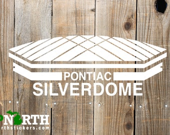 Pontiac Silverdome - Custom Vinyl Decal - Detroit Football - Michigan Nostalgic - Pontiac Michigan - Free Shipping