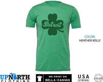UpNorth Tee - Luck of Detroit - Detroit Clover / Shamrock - Detroit Michigan Shirt - Free Shipping