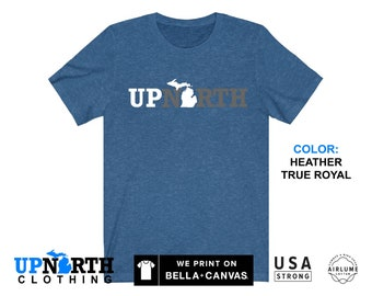 UpNorth Tee - Up North Michigan (gray/white) - Michigan T-Shirt - Free Shipping