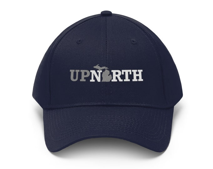 Adjustable Hat - Up North Michigan (gray/white)