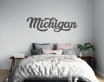 Michigan - Cursive Lettering - Vinyl Decal - Multiple Sizes and Colors - Personalize for Free - Free Shipping