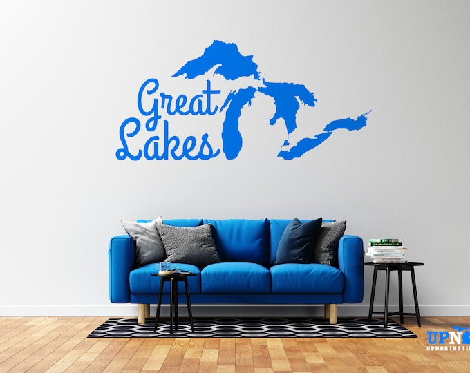 Great Lakes - Vinyl Wall Decal - Multiple Sizes and Colors - Free Customization