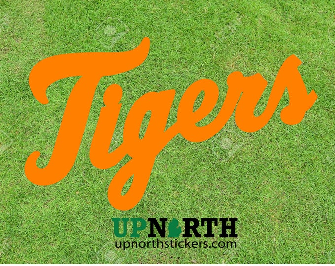 Tigers - Cursive Text Vinyl Decal - Detroit Baseball - Tigers Decal - Multiple Sizes - FREE PERSONALIZATION